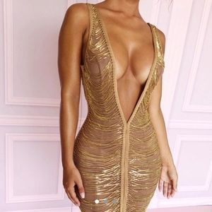 House Of CB gold chain mini dress